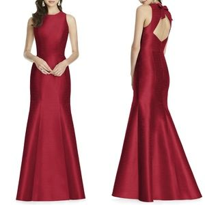 NEW ALFRED SUNG Red Dupioni BOW BACK Trumpet Gown